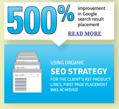 500% improvement in Google search result placement